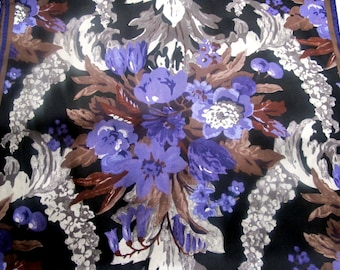 Splendid Violet Albert Nipon silver black silk scarf