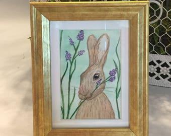 "Original, Signed Watercolor Rabbit,  ACEO, 2.5x3.5"""