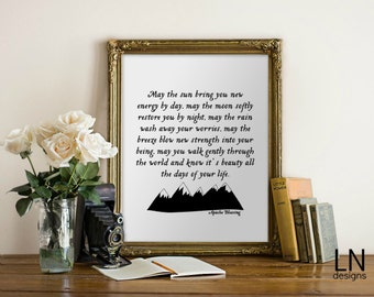 Instant Apache Blessing 'May the sun...' Printable Art Home Decor Nursery Print Blessing Poem