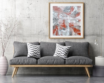 Abstract Painting, Original Large Wall Art, Red Taupe Abstract Art Dot Painting 24x24 Canvas Art Australian Art Acrylic Painting