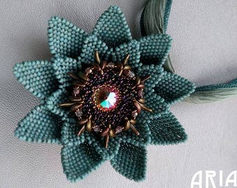 LOTUS BLOSSOM PENDANT Kit:  Rainbow Turquoise Colorway - From Bead and Button Magazine June 2017