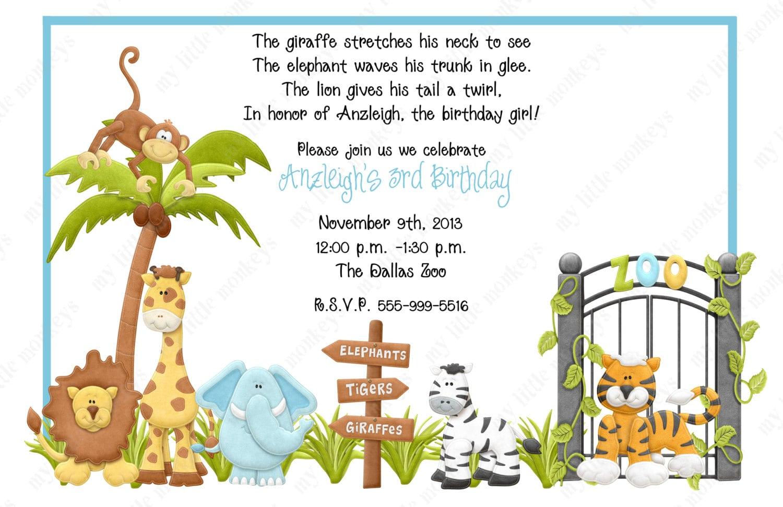 10 Zoo Birthday Invitations with Envelopes. Free Return
