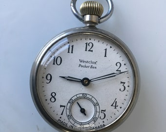Vintage Westclox Pocket Ben Pocket Watch Made in Canada 1940s