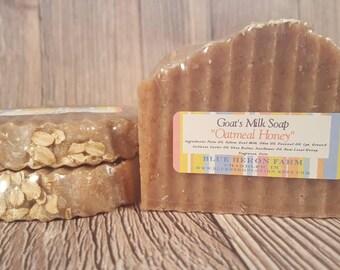 Oatmeal Honey Goat Milk Bar Soap, Goatsmilk Soap, Oatmeal Milk and Honey Soap, Exfoliating Soap, Handmade Soap from Blue Heron Farm