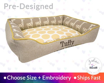Adorable Dog Bed with Giraffe  | Natural, Paisley, Polka Dot, Nursery | Washable, Reversible and High Quality - Ships Fast!