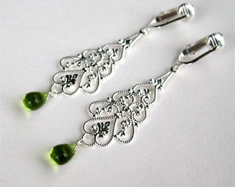 Silver Dangle Clipon Earrings, Olive Green Glass Teardrop, Long Clip On Earrings, Handmade, Silver Shawna
