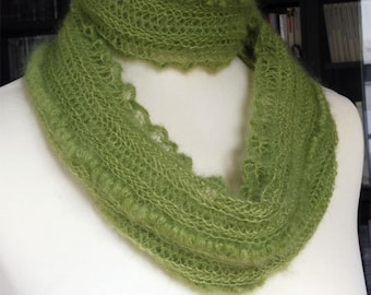Infinite Scarf, Snood, Crochet lace, Mohair and Silk
