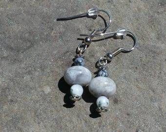 Gray Stone Earrings