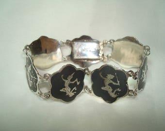 Vintage NIELLO Silver and Black Siam Dancers Bracelet.