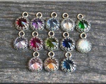 ADD a Birthstone Charm, Mothers Charm, Birthstone Pendant, Gemstone Pendant, Gemstone Charm, Bezel Set Gemstone Add A Charm, Personalized