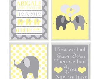 Nursery Art Print Birth Stats - Personalize Baby Name - Elephant Yellow Gray - Polka Dots - Baby Room - Custom Wall Art -