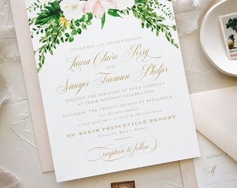 Watercolor Tropical Wedding Invitations, Beach Wedding Invitations