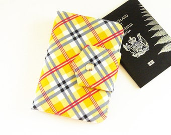 Yellow Plaid Passport Holder, Passport Wallet, Passport Cover for 2, Travel Wallet, Passport Organizer  - Ready Made and Ready to Ship