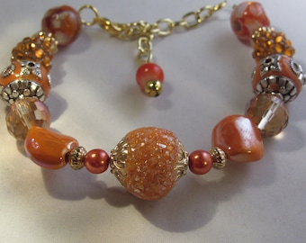 Orange on Orange Beaded Bracelet