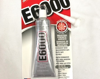 E6000 Industrial Strength Adhesive - 1.0 fl oz / 29.5mL Tube - Clear with BONUS Nozzle