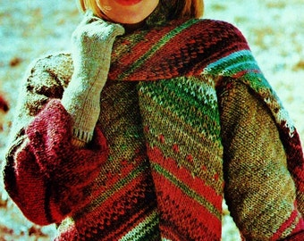 Diagonal Stripe Sweater and Scarf Vintage Knitting Pattern Instant Download