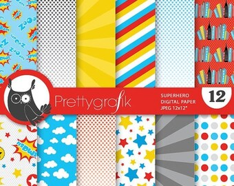 80% OFF SALE Superhero digital paper, commercial use, scrapbook papers, background chevron, stripes, hero - PS731