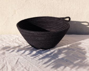 Small handmade and hand dyed black rope bowl catchall basket