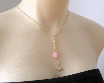 Gold Lariat Necklace, Y Necklace, Pink Jade Necklace, Gift For Mom, Bird Necklace, Gemstone Lariat Necklace, Gift For Her, Collier