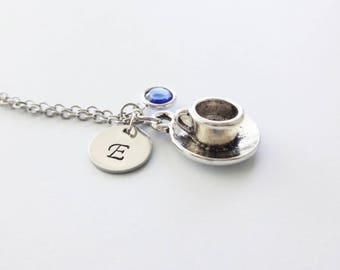 Cup and Saucer Necklace, Tea Cup, Coffee Cup, Drink, Cup Jewelry, Swarovski Birthstone, Silver Initial, Personalized Monogram, Hand Stamped