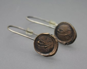 Wax Seal Jewelry, Wax Seal Earrings, Mixed Metal Earrings, Hope, Awareness Ribbon, Awareness Jewelry, Ribbon Jewelry, Cancer Jewelry