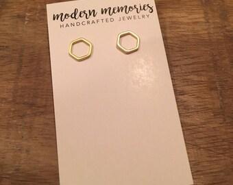 Hexagon Stud Earrings | Simple Stud Earrings, Gold Stud Earrings, Geometric Studs, Gold Geometric Earrings