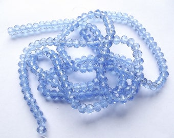 New! 98 blue faceted Crystal rondelle 4 x 6 mm Marshall-501