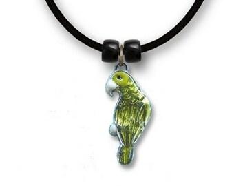 Enamel Gr Amazon Parrot Necklace
