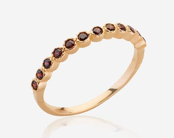 Stacking ring garnet gemstone ring birthstone stackable mothers rings gold jewelry for women multistone ring red stone ring