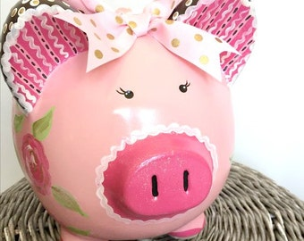 Personalized Piggy Bank, Big Girls Piggy Bank, Custom Painted Pink Bank with Painted Roses, READY TO SHIP
