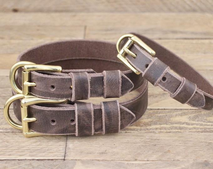 Dog collar, Handmade collar, FREE ID TAG, Brass hardware, Cherry Brown, Leather collar, Large size, Dog collars, Pet supplies, Pet collar