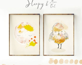 Moon and Owl, Woodland nursery decor, Nursery decor wall art, Woodland nursery wall art, Woodland animal nursery, Owl Nursery decor