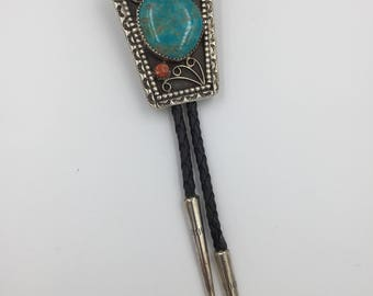 Vintage Native American Made and Signed by the Craftsman Sterling Silver, Turquoise and Red Coral Bolo Tie on Braided Black Leather