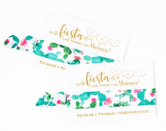 Watercolor Cactus Hair Tie Favors | Fiesta Bachelorette Party Favors, Cactus Succulent Floral, Wedding + Bachelorette Party Hair Tie Favors