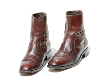 Vintage Men's Brown Leather Pull-on Ankle Boots / size 10 1/2