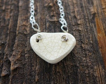 Beach Pottery Heart Necklace