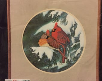 Winter Cardinals Dimensions No Count Cross Stitch  Kit Embroidery  Kit