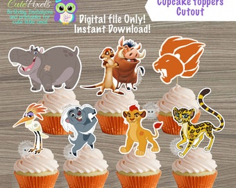 Lion Guard cupcake toppers, The Lion Guard Birthday, Kion Topper, The Lion Guard Birthday decor, Cake toppers, Lion guard cut outs, Cutouts