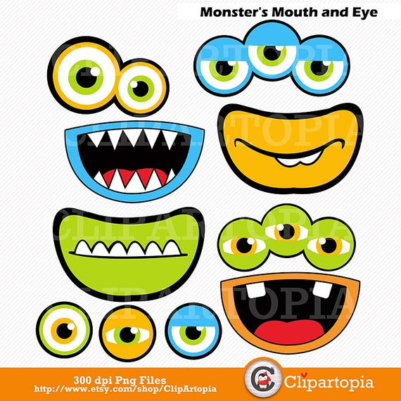 monsters mouth and eyes digital clipart little monster party rh etsystudio com