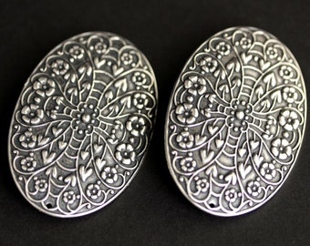 Two (2) Viking Brooches. Large Oval Brooches. Silver Brooches. Norse Apron Pins. Viking Jewelry. Shoulder Brooches. Historical Jewelry.