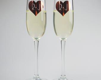Personalised Heart Initials Premium Champagne Flute