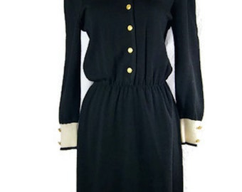 Vintage Vivanti Sweater Dress Black And White with ILGWU Label - Long Sleeves Gold Buttons - 1970s Neiman Marcus