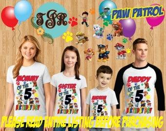 PAW PATROL Birthday Boy family Shirts design Raglan Long Sleeve Short Sleeve Tank tops Infant/Toddler Sizes Ladies Cut Tshirt onesie