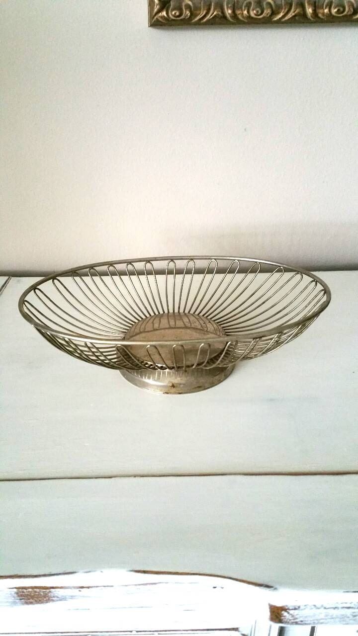 Vintage Wire Basket Vintage Metal Basket Wire Bread Basket