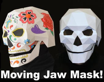Skull Mask with Moving Mouth - Low Poly Mask Pattern Uses Just Paper and Glue - Two Styles! | Halloween Mask | Dia de Los Muertos