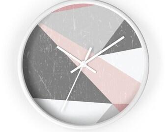 Classic, round, wooden wall Clock, Scandinavian grunge, minimalist design, geometric shapes
