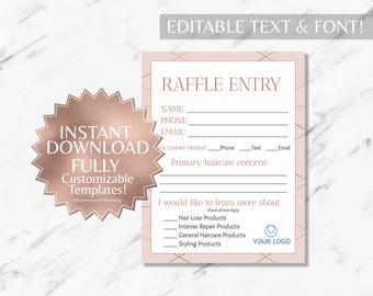 Rose Gold Pink Hair Salon Raffle and Contact Card|Monat Business Cards|Monat Raffle Ticket|Monat Global Marketing|Monat Contact Card|INSTANT