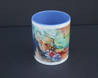 Mug flight of Demeter - ceramic from my watercolor