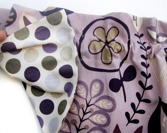 CLEARANCE - was 32 REVERSIBLE LAVENDER Lavish Valance Curtains Flowers Polka Dots 44 inches wide