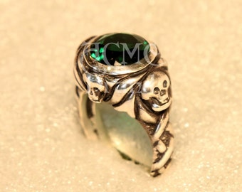 Johnny's Jack Sparrow Emerald Ring SILVER .925 Pirates of the caribbean depp pirate